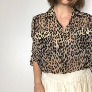 NEW DIRECTIONS Leopard Print Blouse